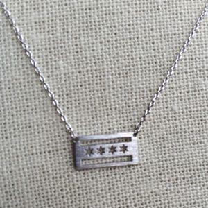 Chicago flag sliver necklace